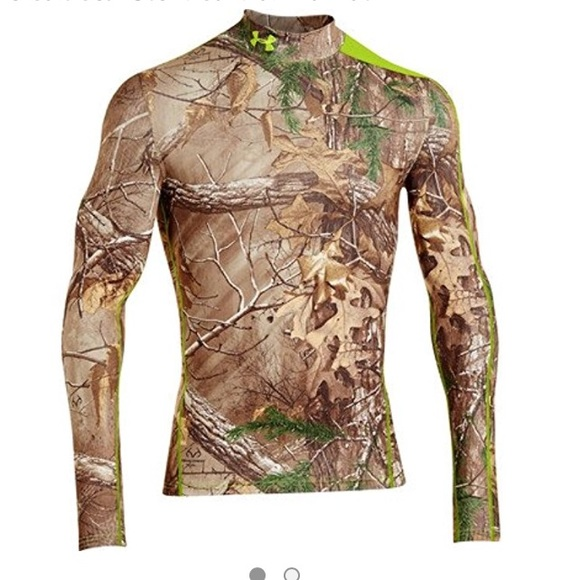 UNDER ARMOUR New NWT Mens Real Tree Compression Cold Gear Camo Camouflage Shirt